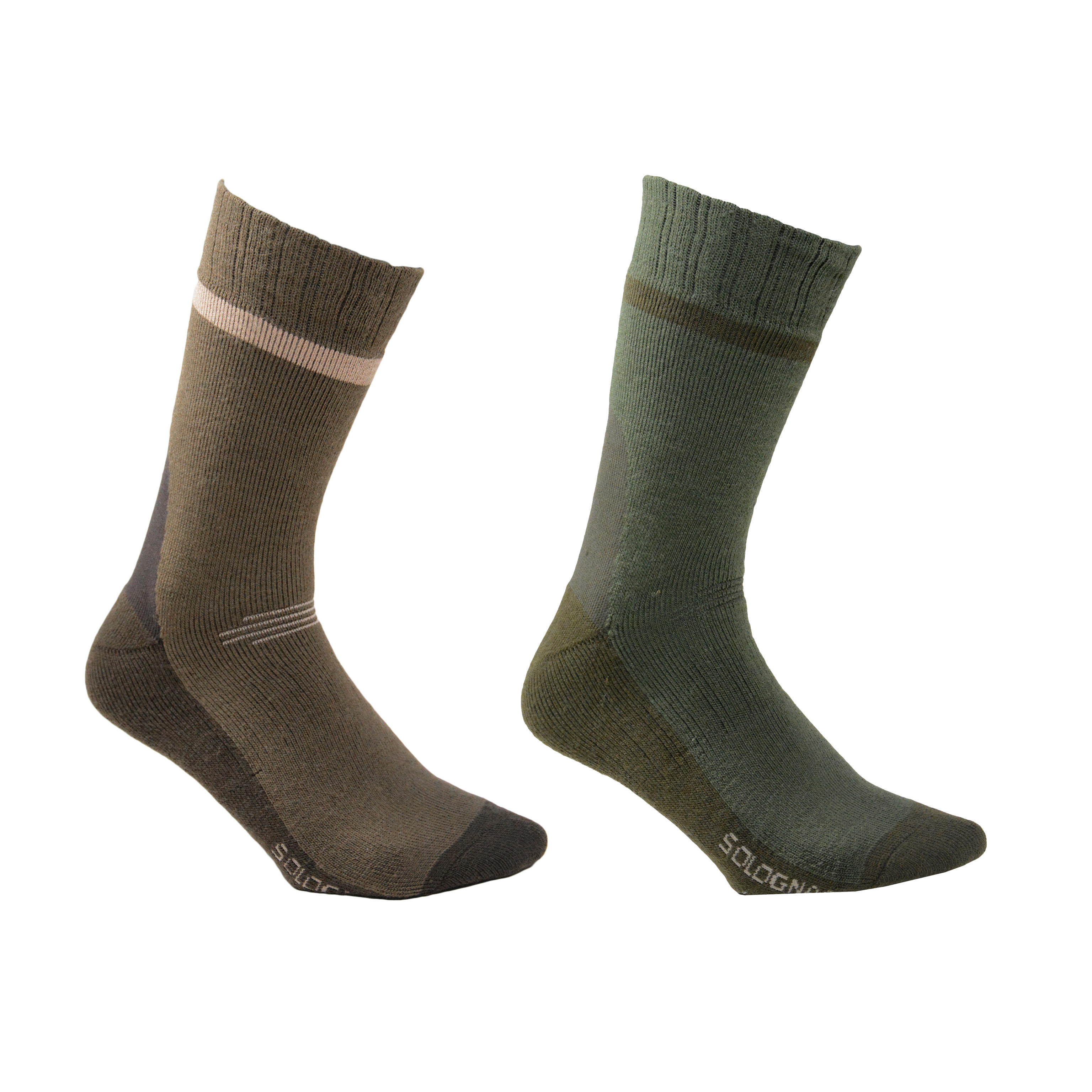 Calcetines cálidos de caza Winter middle x2 marrón