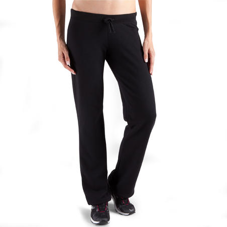 Women's Brushed-Jersey Fitness Bottoms with Adjustable Ankles - Black