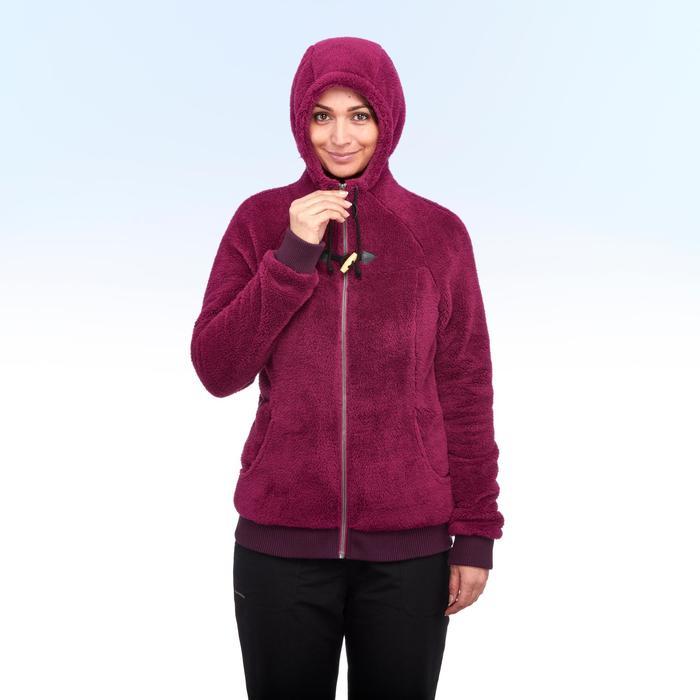Chaqueta polar de senderismo nieve mujer SH100 ultra-warm violeta