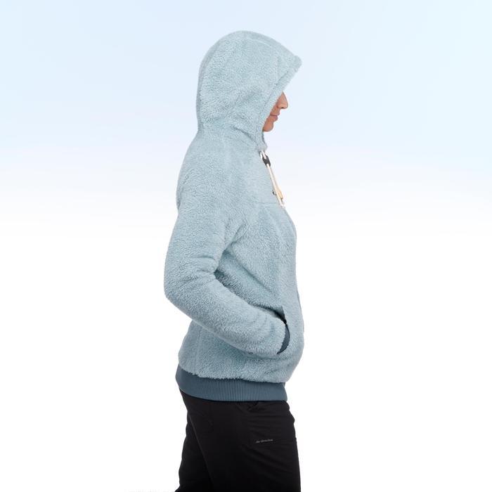 Chaqueta polar de senderismo nieve mujer SH100 ultra-warm azul-ice