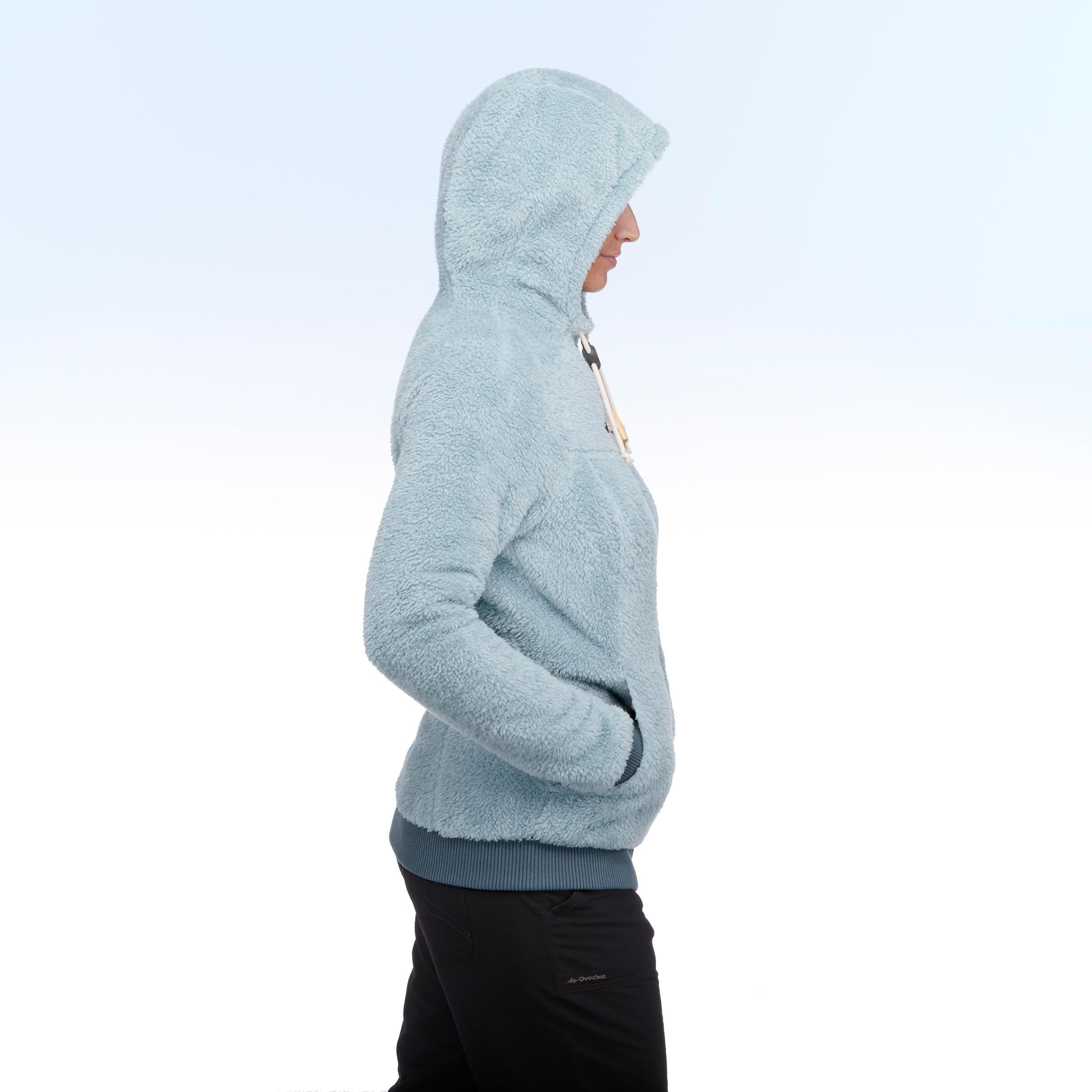 Veste polaire de randonnée neige femme SH100 ultra-warm bleu-ice