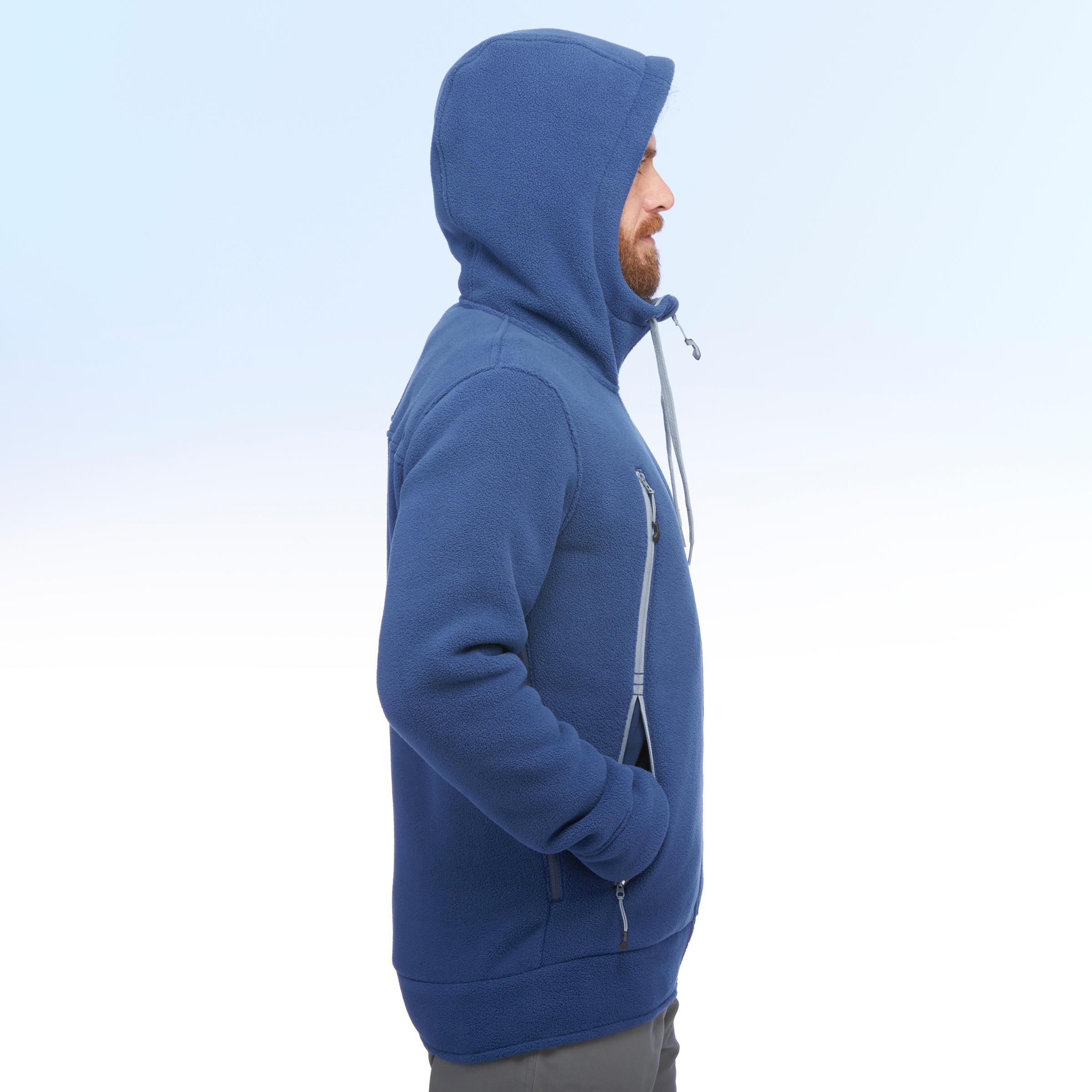 Veste polaire de randonnée neige homme SH100 ultra-warm bleue.