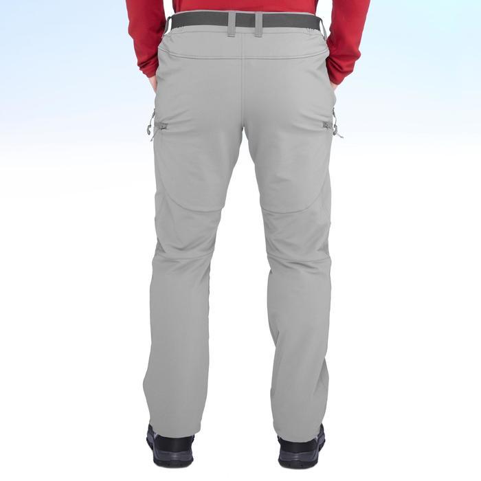 男款保暖彈性雪地健行長褲SH500-灰色