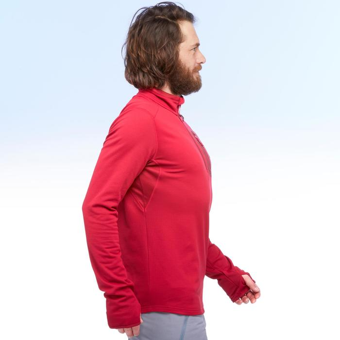 SH500 Men's warm long sleeve red snow hiking t-shirt.