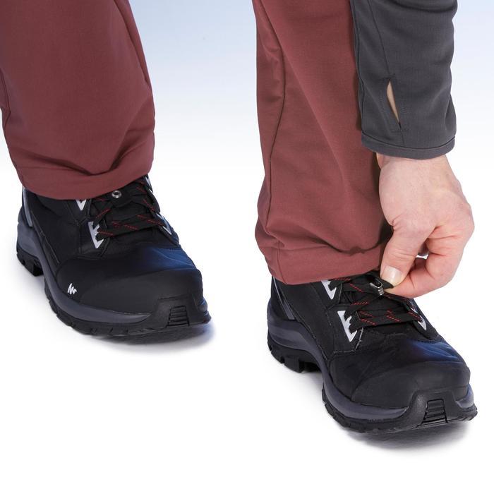 男款保暖彈性雪地健行長褲SH500-酒紅色