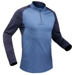 T-shirt de randonnée neige manches longues homme SH100 chaud bleu.