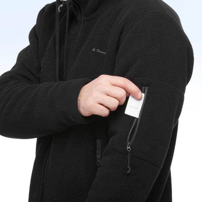 Fleece herenhoodie voor wandelen in de sneeuw SH100 Ultra-warm zwart