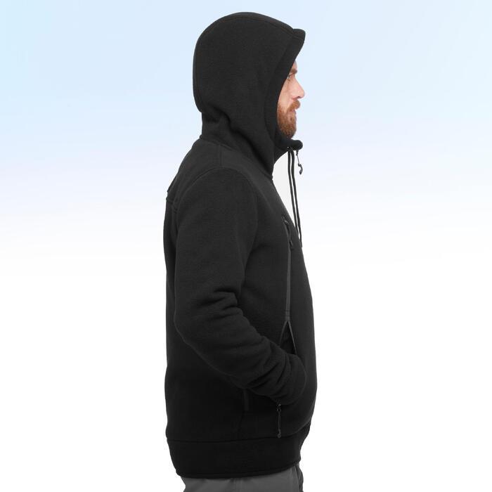 Chaqueta polar de senderismo nieve hombre SH100 ultra-warm negro.