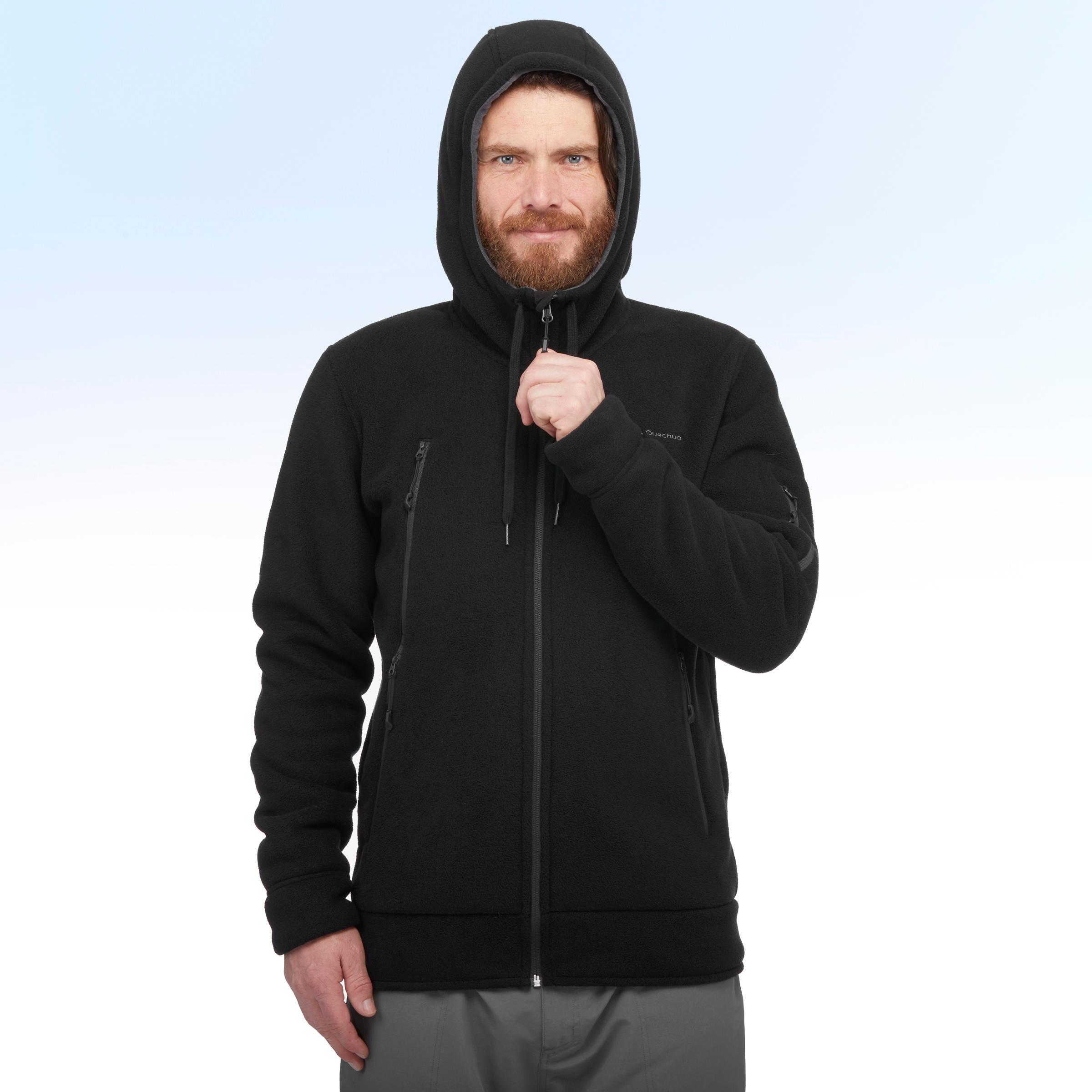 Veste polaire de randonnée neige homme SH100 ultra-warm noire.