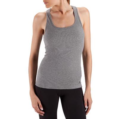 500 Women's Gentle Gym & Pilates Tank Top - Heathered Grey