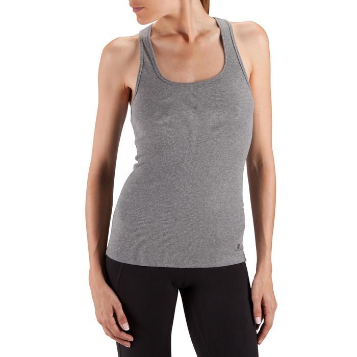 Camiseta sin mangas 500 Pilates y Gimnasia suave mujer gris jaspeado