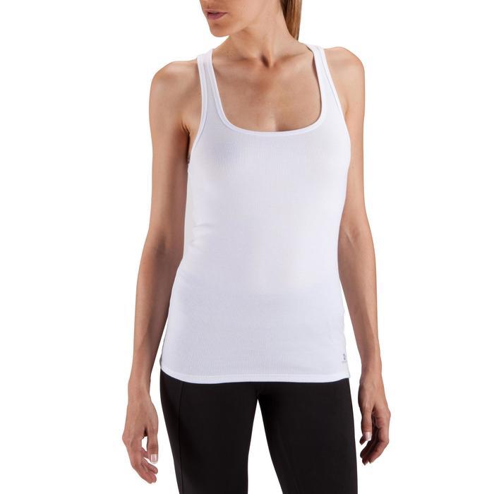 Camiseta sin mangas gimnasia y pilates mujer blanco