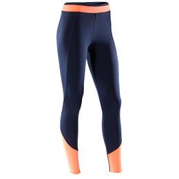 Legging fitness cardio-training femme bicolore bleu marine et corail 120