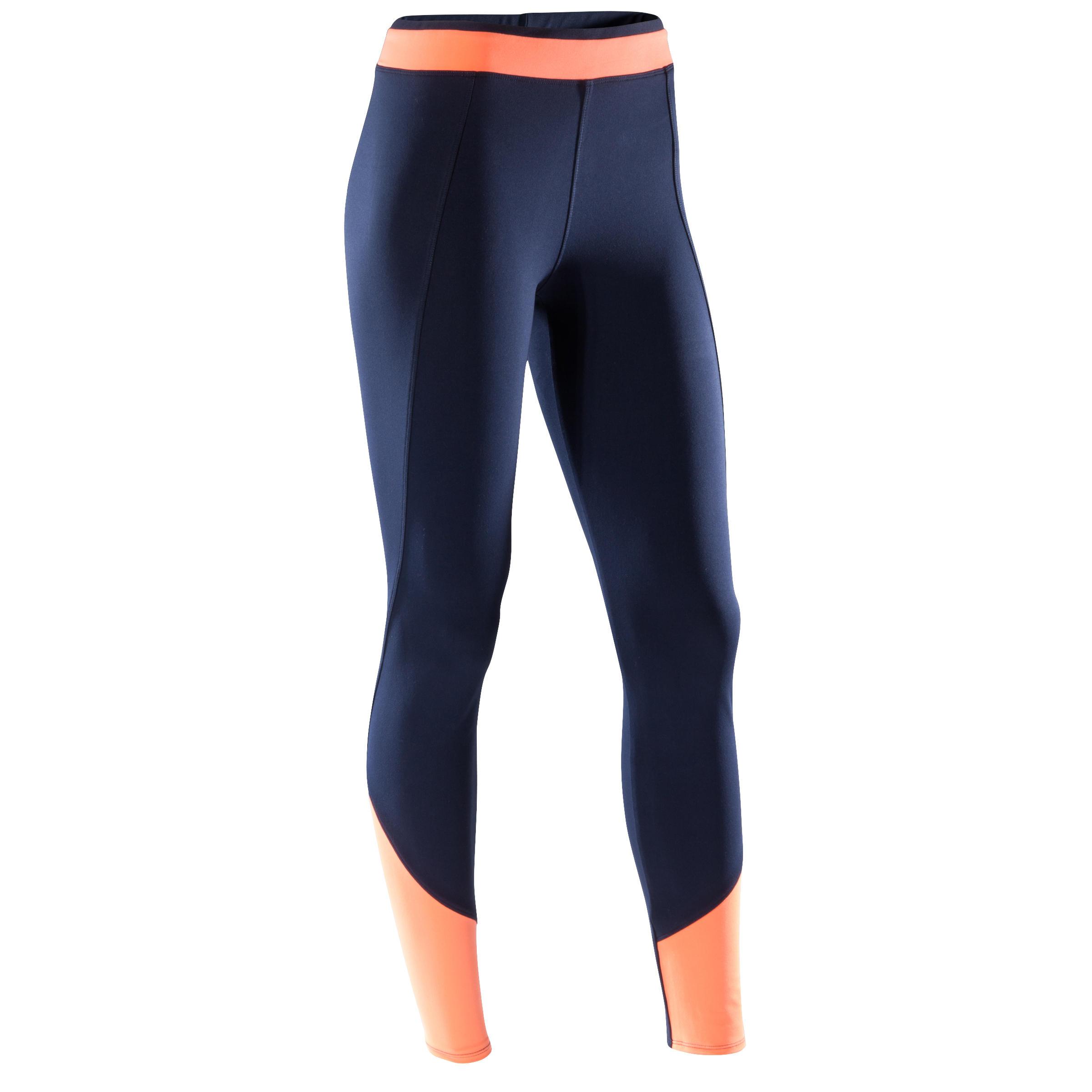 Domyos Fitness legging voor dames 120, blauw en oranje