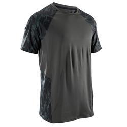 有氧心肺健身運動T恤FTS500 - 卡其色/黑色