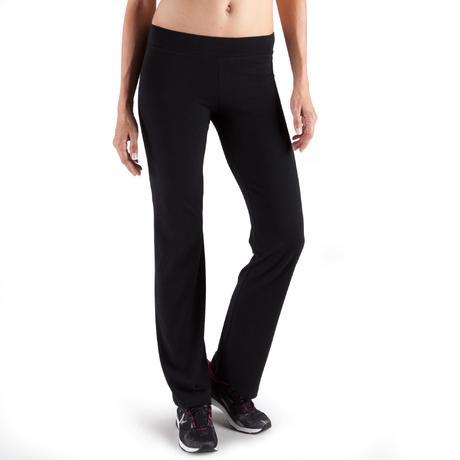 3f71e3a0d0081 Pantalon FIT+ regular, fitness femme, noir   Domyos by Decathlon