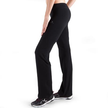 pantalon fit regular fitness femme noir domyos by. Black Bedroom Furniture Sets. Home Design Ideas