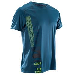 Herenshirt cardiofitness FTS120 groen petrolblauw met opdruk