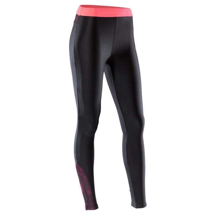 Leggings fitness cardio-training mujer negro detalles rosa 500