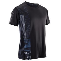 Heren T-shirt voor fitness en cardiotraining FTS120 zwart print
