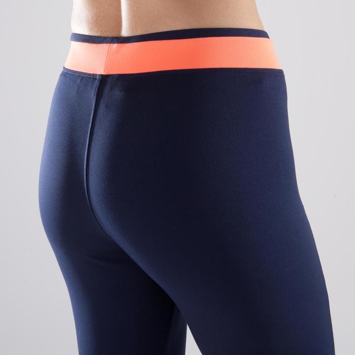 Leggings fitness cardio-training mujer bicolor azul marino y coral 120
