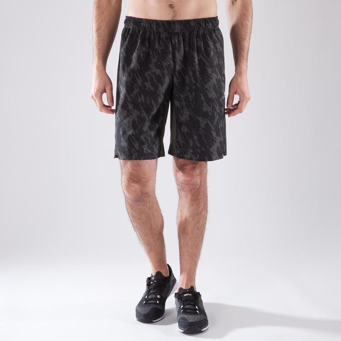 Short fitness cardio homme FST500 KAKI NOIR