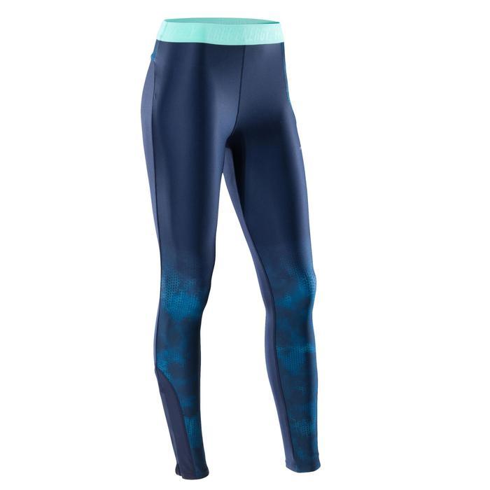 Legging fitness cardio femme bleu marine et imprimés tropicaux roses 500 Domyos - 1411549