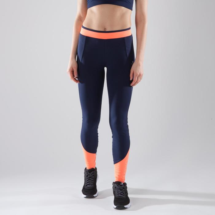 Leggings Cardio 120 Fitness Damen dunkelblau/Koralle