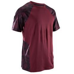 Fitnessshirt met korte mouwen FTS500 voor heren, voor cardiotraining, bordeaux