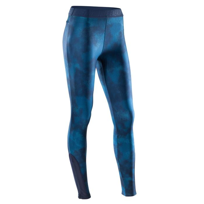 Legging fitness cardio femme bleu marine et imprimés tropicaux roses 500 Domyos - 1411609