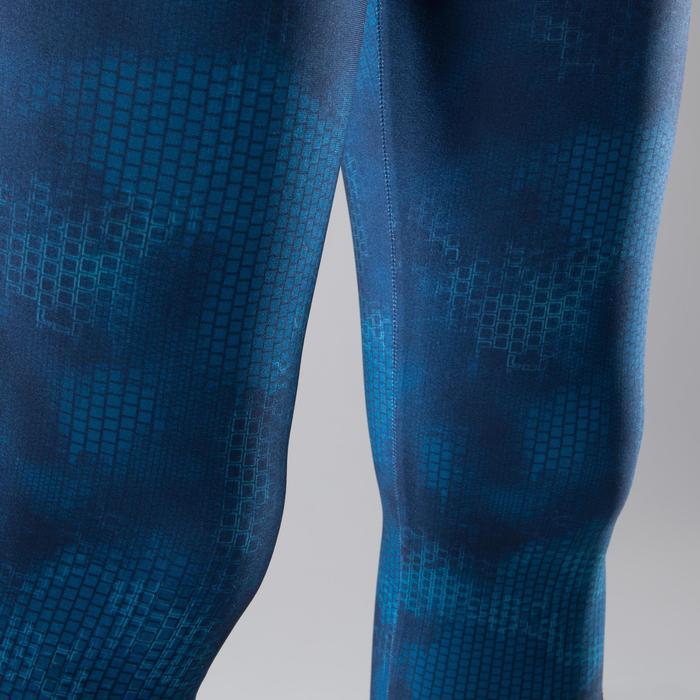 Legging fitness cardio femme bleu marine et imprimés tropicaux roses 500 Domyos - 1411617