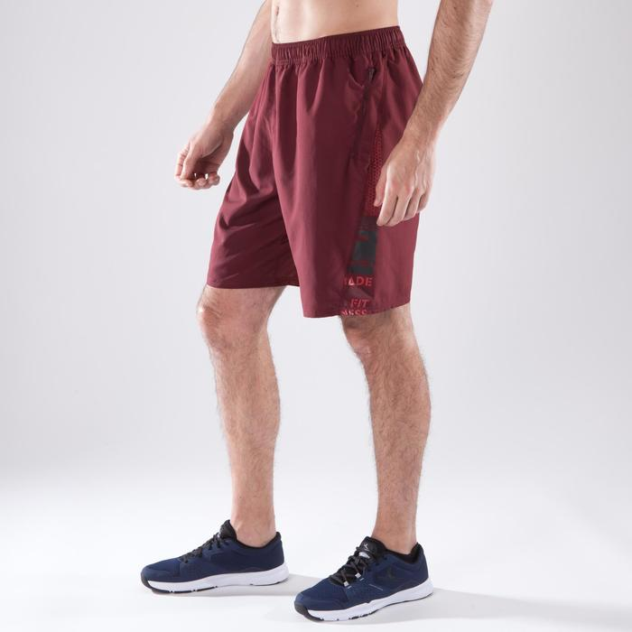 Short fitness cardio-training homme FST120 bordeaux print.