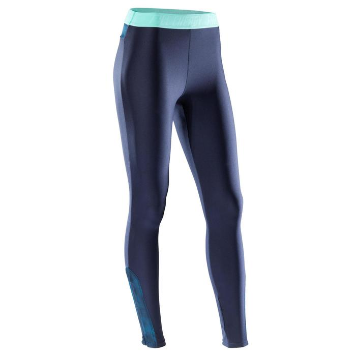 Legging fitness cardio-training femme bleu marine détails bleus 500