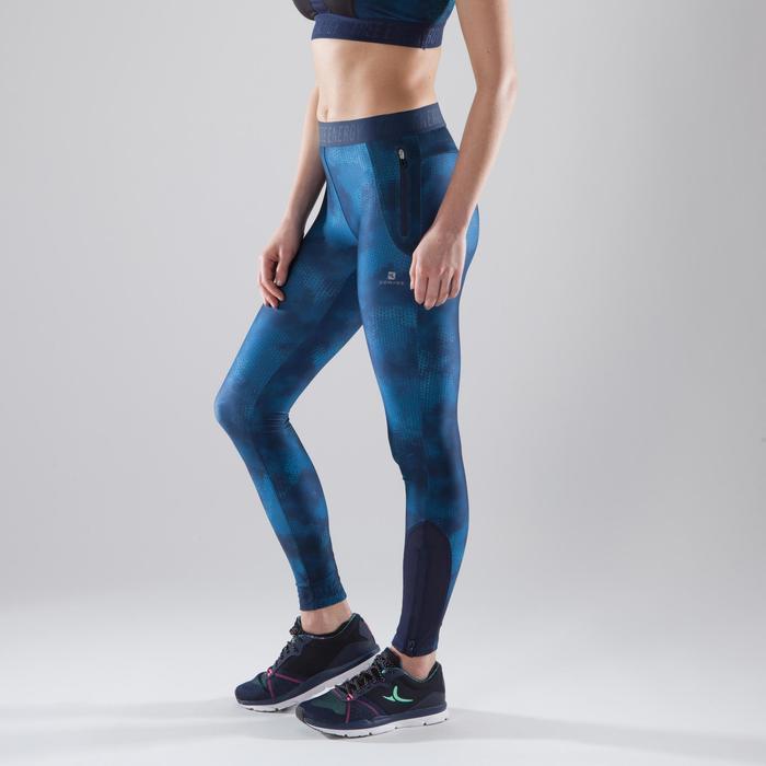 Legging fitness cardio femme bleu marine et imprimés tropicaux roses 500 Domyos - 1411638