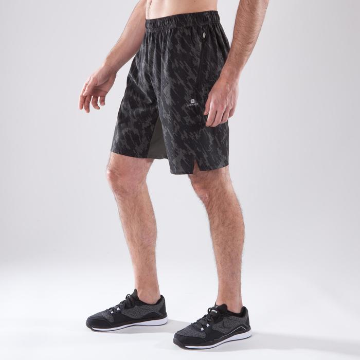 Short fitness cardio hombre FST500 CAQUI NEGRO