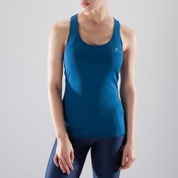 Camiseta Sin Mangas Fitness Cardio Domyos MyTop 100 Mujer Azul Prusia