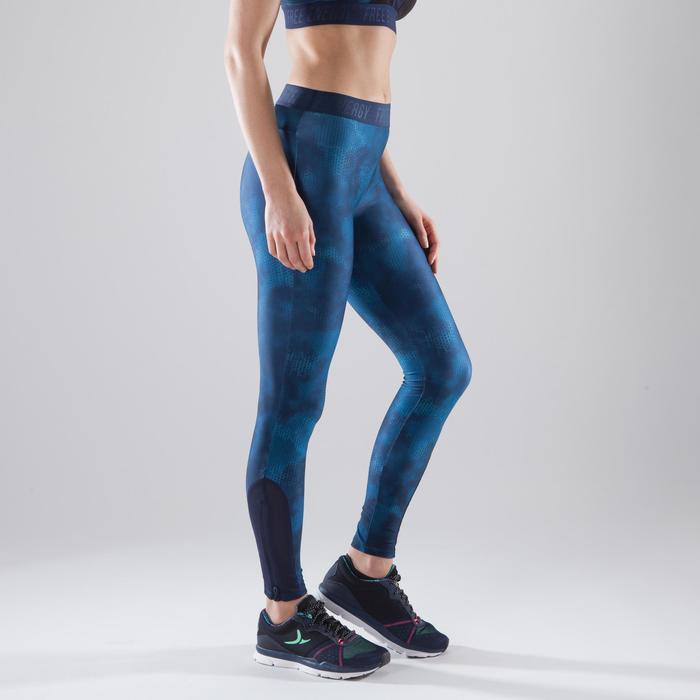 Leggings fitness cardio-training mujer con estampados azules 500