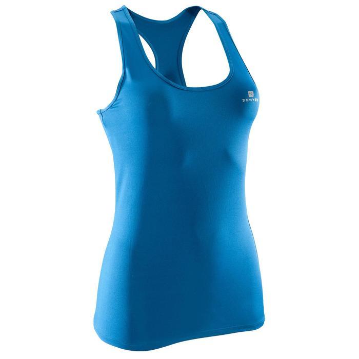 Camiseta sin mangas cardio fitness mujer azul 100