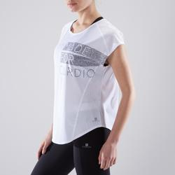 Camiseta amplia fitness cardio-training mujer blanco con estampados 120