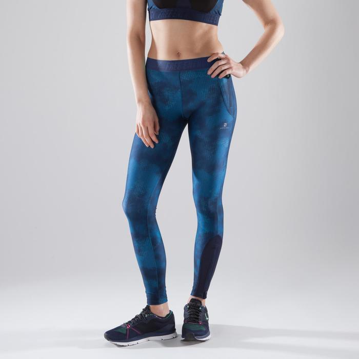 Legging fitness cardio femme bleu marine et imprimés tropicaux roses 500 Domyos - 1411693