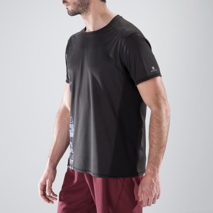 Camiseta de fitness cardio-training para hombre FTS120 negro estampado