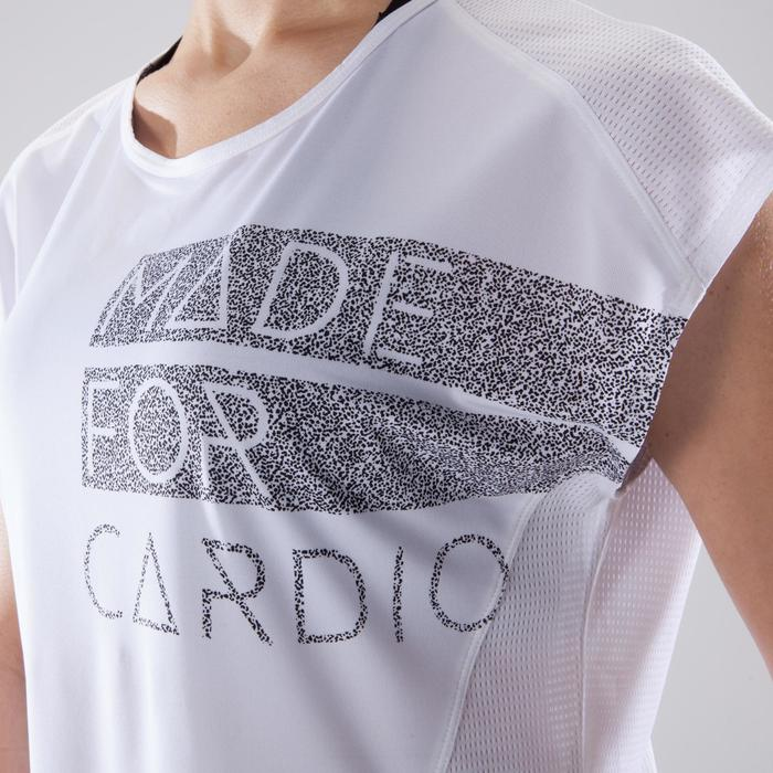 T-Shirt Loose 120 Fitness Cardio Damen weiss mit Prints