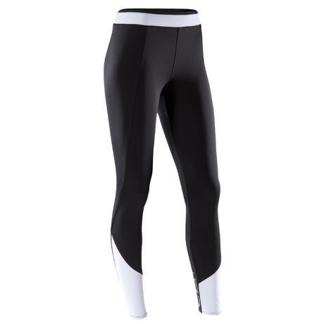 Legging fitness cardio-training femme bicolore noir et blanc 120 ... 6bfb23daead