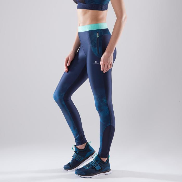 Legging fitness cardio femme bleu marine et imprimés tropicaux roses 500 Domyos - 1411760