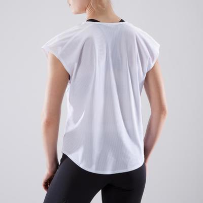 2dadaf344763f T-shirt loose fitness cardio-training femme blanc à imprimés 120 ...