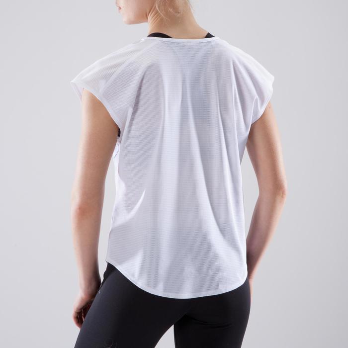 Cardiofitness T-shirt 120 voor dames, loose fit, wit met opdruk