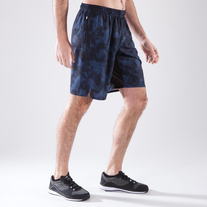Short fitness cardio homme FST500 GRIS BLEU NOIR