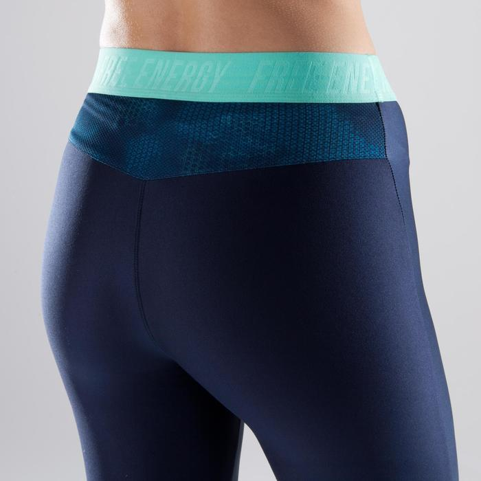 Legging fitness cardio femme bleu marine et imprimés tropicaux roses 500 Domyos - 1411788