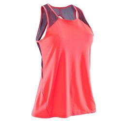 女款有氧健身運動背心500 - 珊瑚橘