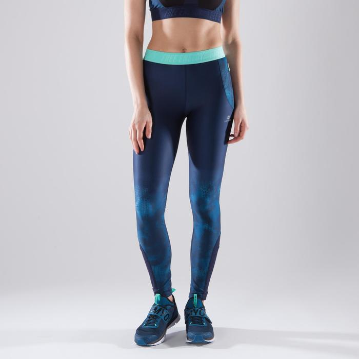 Legging fitness cardio femme bleu marine et imprimés tropicaux roses 500 Domyos - 1411815
